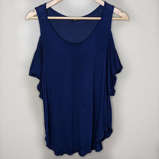 Express Cold Shoulder Navy Blouse