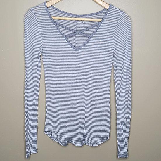 SO Striped Criss-cross V-neck Long Sleeve Shirt