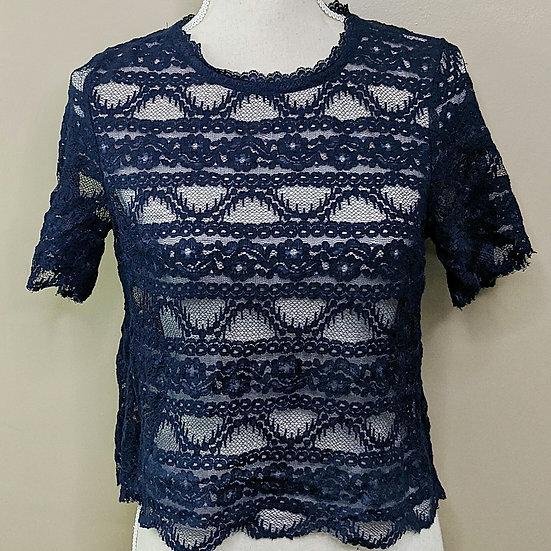 Xhilaration Lace Short Sleeve Crop Top