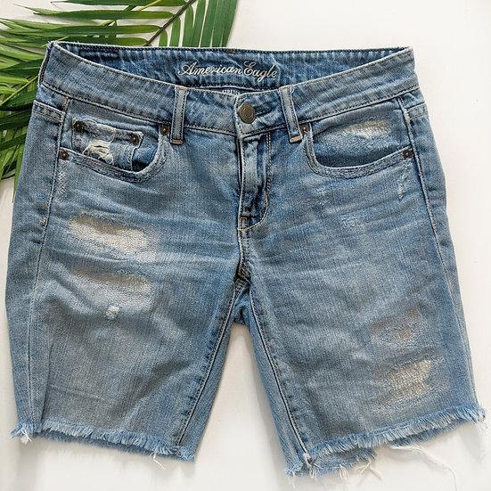 American Eagle Distressed Bermuda Jean Shorts