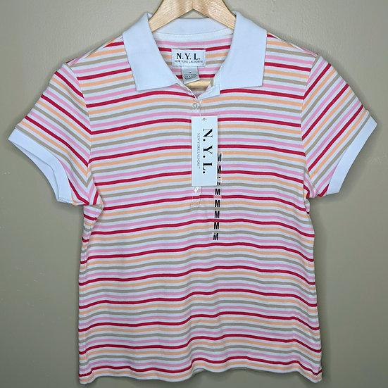 New York Laundry Striped Short Sleeve Polo Tee