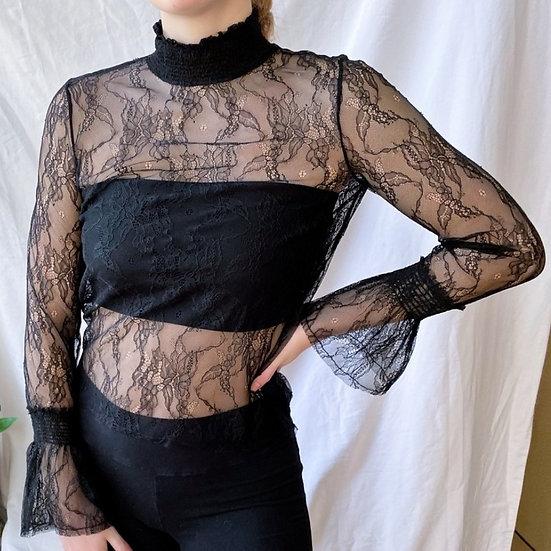 H&M Lace Turtleneck Long Sleeve Shirt