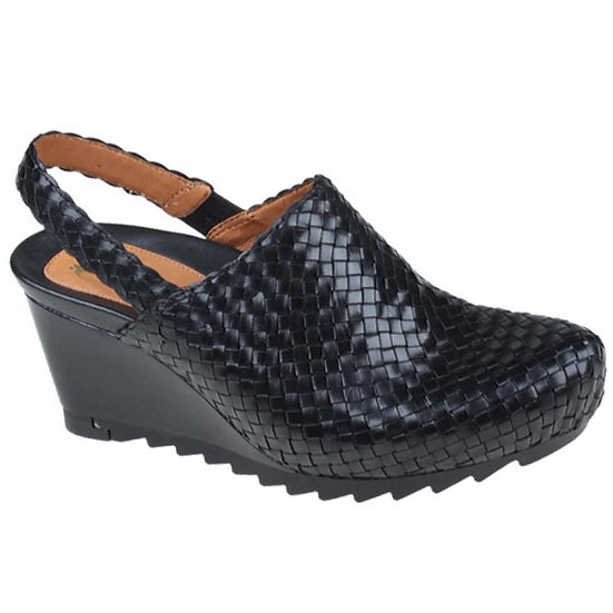 Earthies Katina Woven Leather Wedge Mules