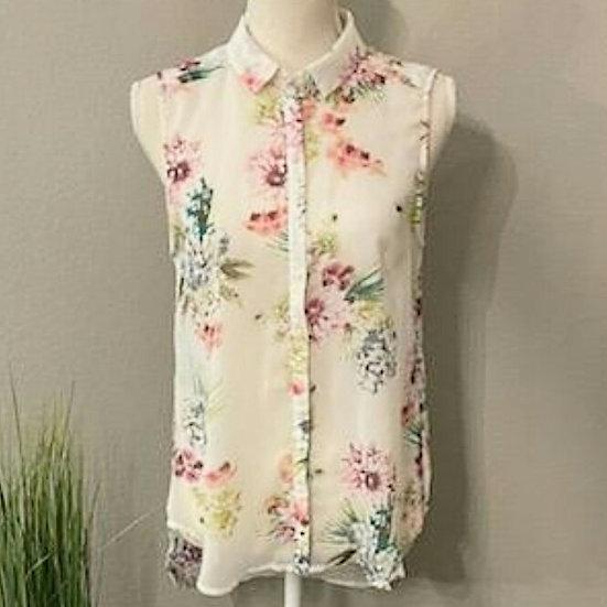 H&M Floral Chiffon Button Up Tank Top