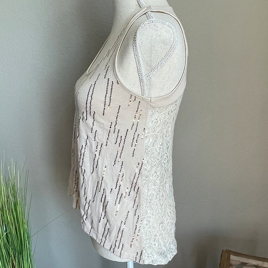 American Rag Sequins Lace Tank Top