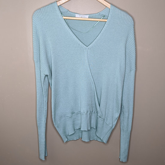 Elodie Ribbed Wrap Surplice Mint Sweater