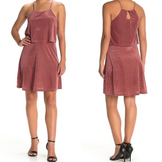 Angie Popover Striped Velvet Dress