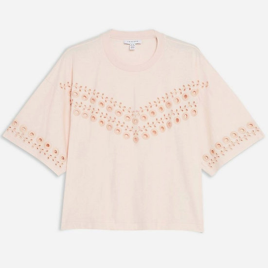 Topshop Broderie Boxy T-Shirt