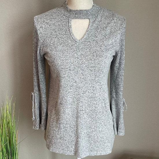 A. Byer Choker V-neck Bell Sleeve Sweater