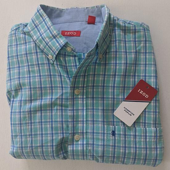 IZOD Hampton Poplin Plaid Long Sleeve Shirt