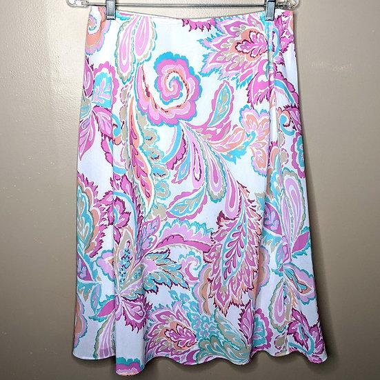 New York & Company Colorful Floral Midi Skirt