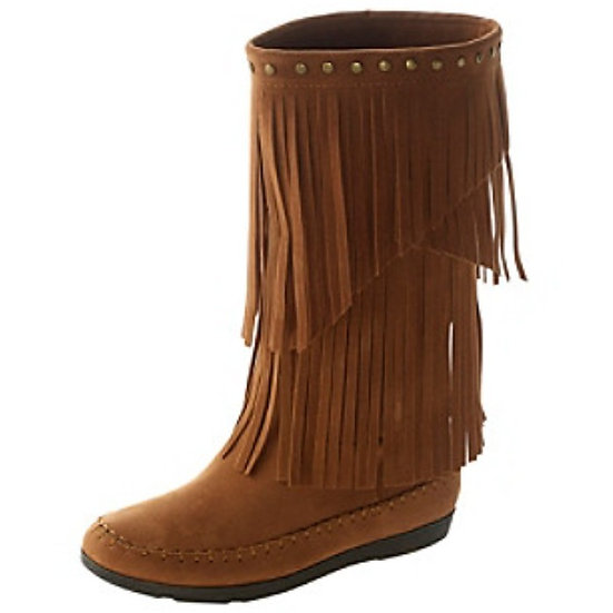 Rampage Fringe Capreese Studded Moccasin Boots