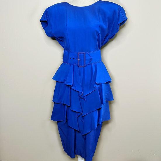 Vintage Short Sleeve Belted Ruffle Dress