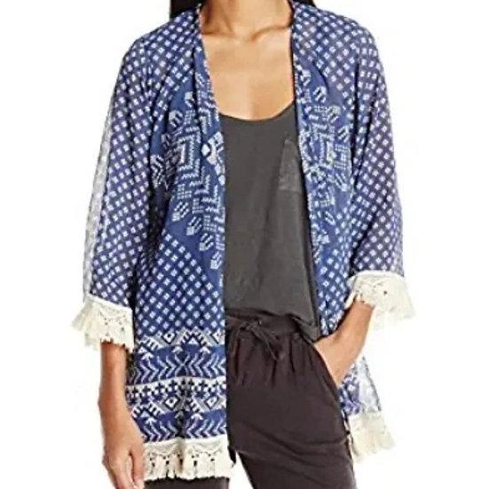 Jolt Printed Kimono with Lace Hem