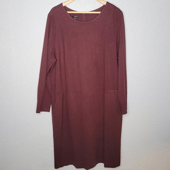 Talbots Clay Long Sleeve Midi Dress