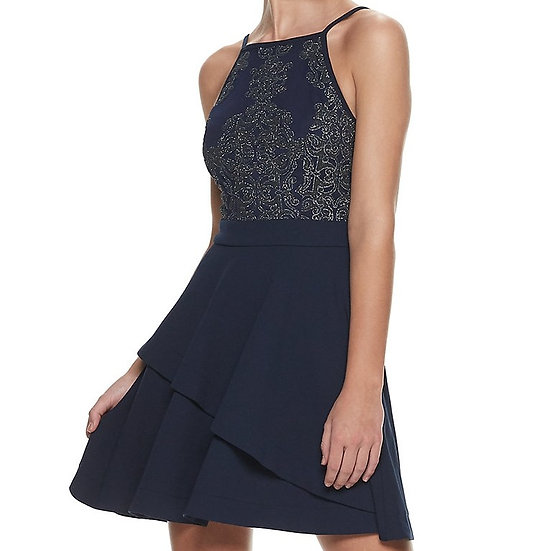Speechless Tiered Fit & Flare Formal Dress