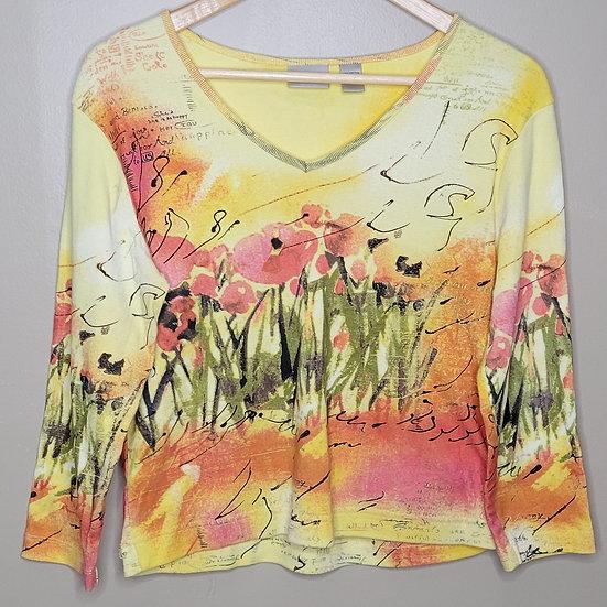Chico's Floral V-neck Shirt