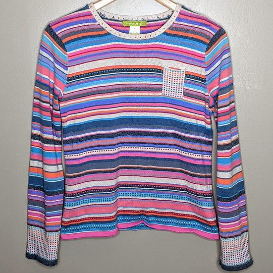 Sigrid Olsen Retro Striped Pullover Sweater