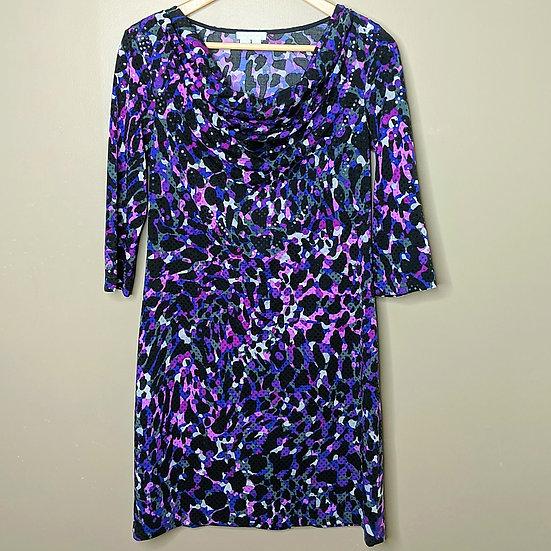 London Fog Shimmery Cowl Neck Midi Dress