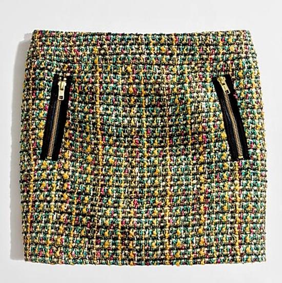 J. Crew Tweed Gold-Zip Mini Skirt