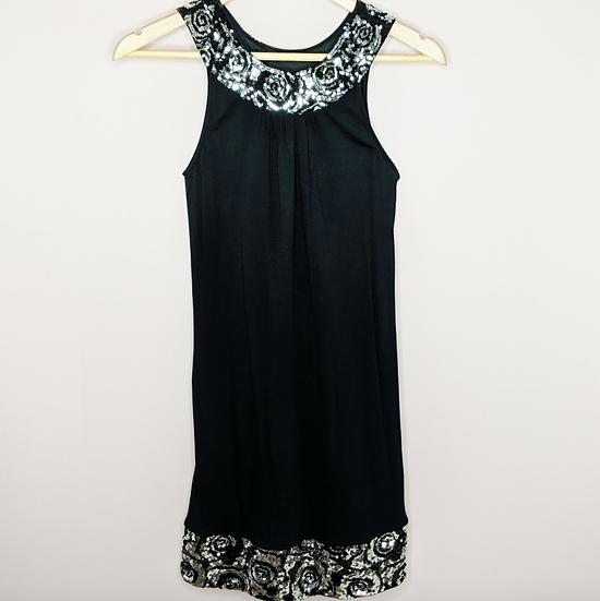 Express Sequins Black Sleeveless Dress