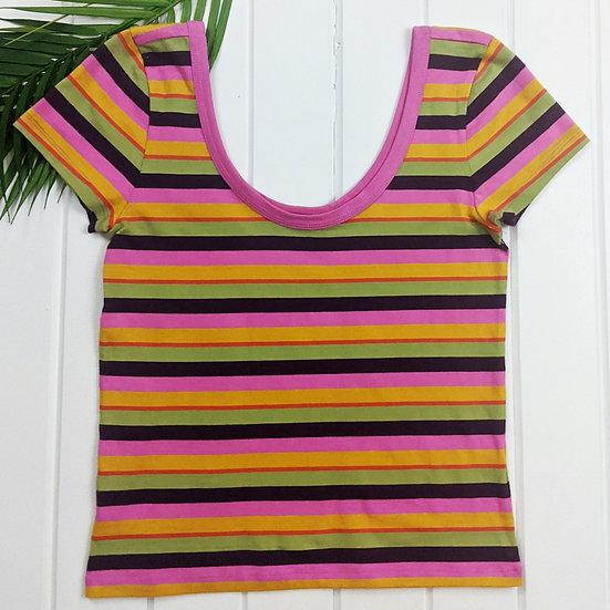 Abound Striped Short Sleeve Crop Top