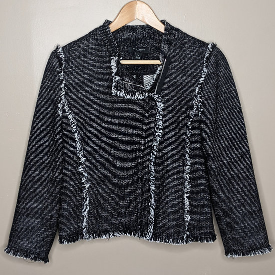 Ann Taylor Tweed Zip Up Blazer Jacket