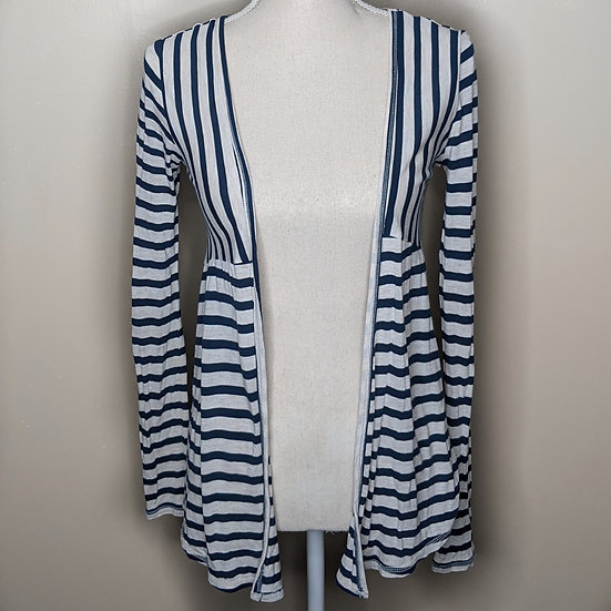 SO Striped Long Sleeve Open Cardigan