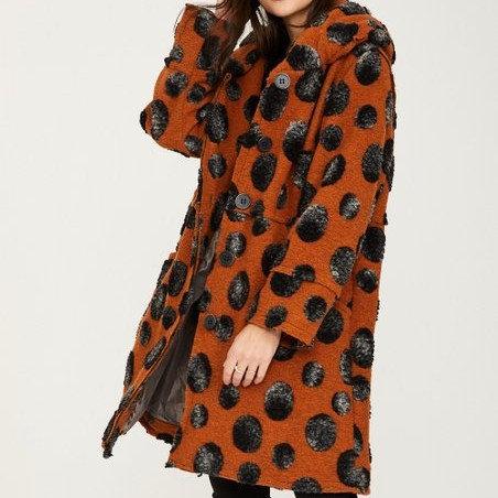 Ornella Paris Wool Blend Abstract Dot Swing Coat