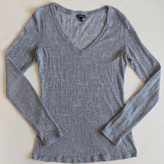 Express Metallic Long Sleeve V-neck Shirt