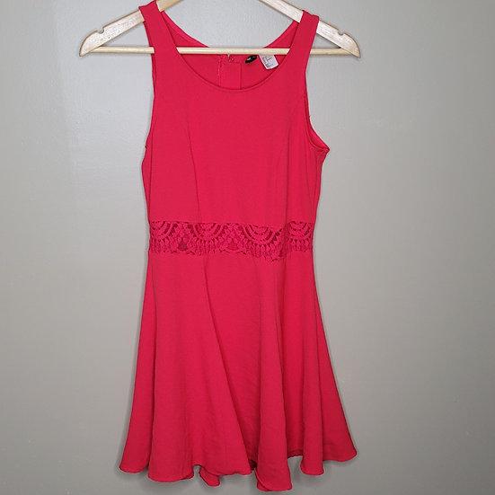 Divided Sleeveless Lace Skater Dress