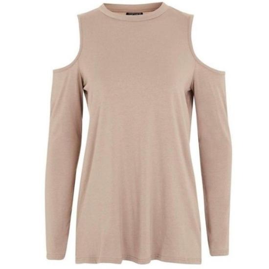 Topshop Cold Shoulder Long Sleeve Shirt
