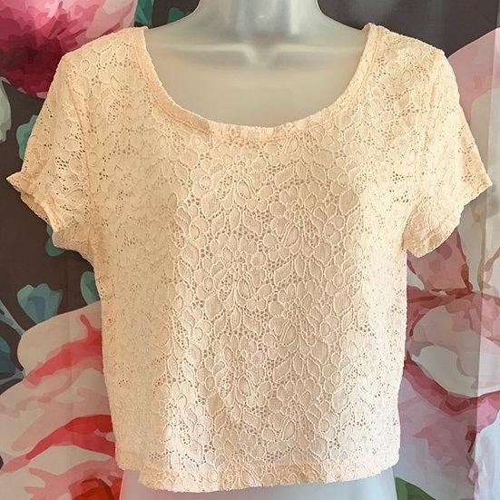 Express Lace Short Sleeve Crop Top