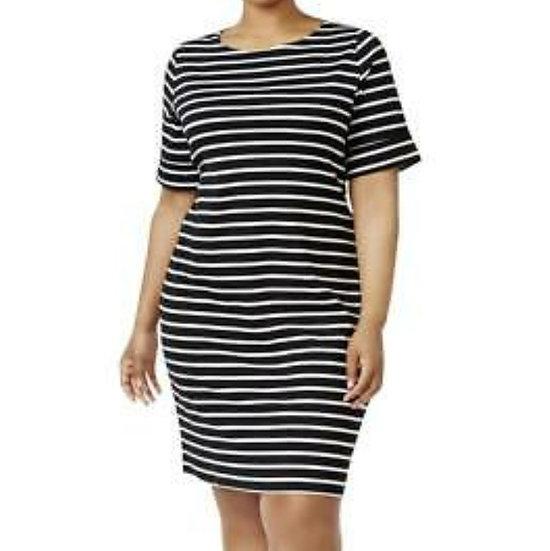 Karen Scott Sport Striped T-shirt Dress