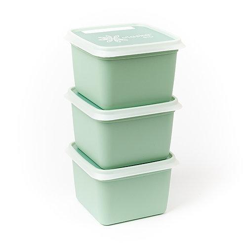 3 Boîtes de congélation carré 0.75L  12.8 cm