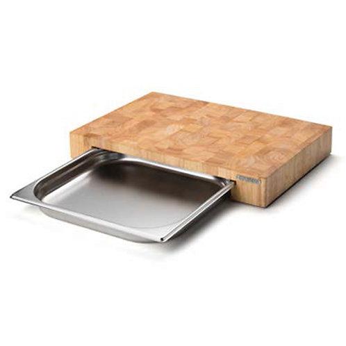 Planche à découper 6 cm + tiroir en inox 39x27 cm