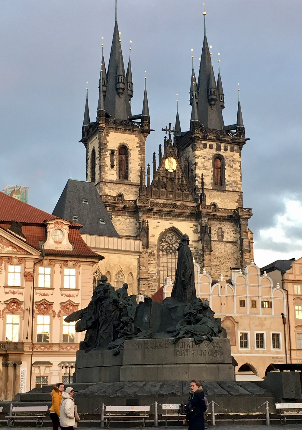 Tyn Church (where Tycho Brahe is buried); Old Town Square, with Hus statue