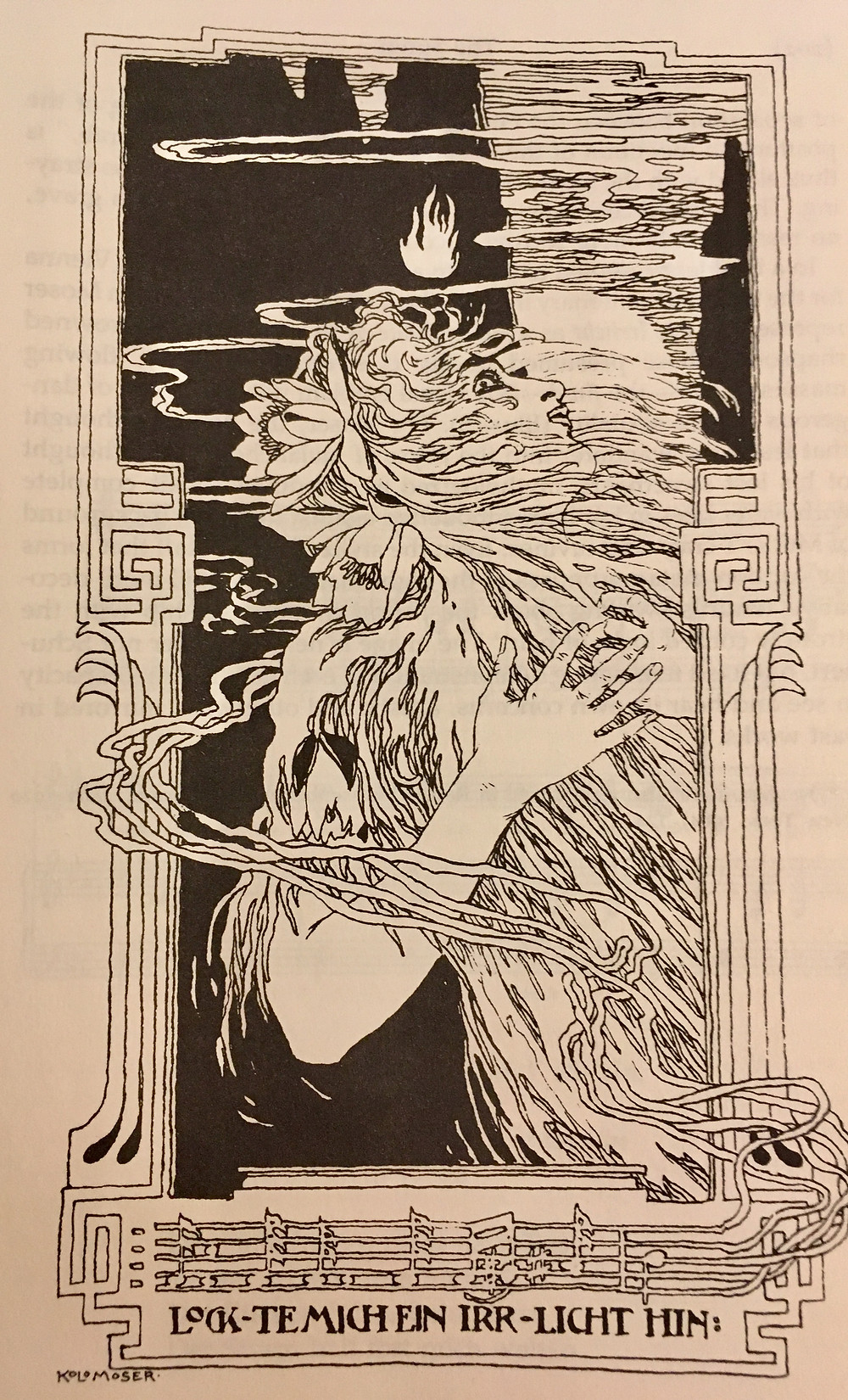 Moser's expressionist illustration of Schubert's song
