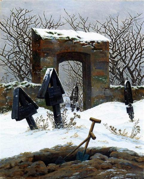 Friedrich graveyard in snow
