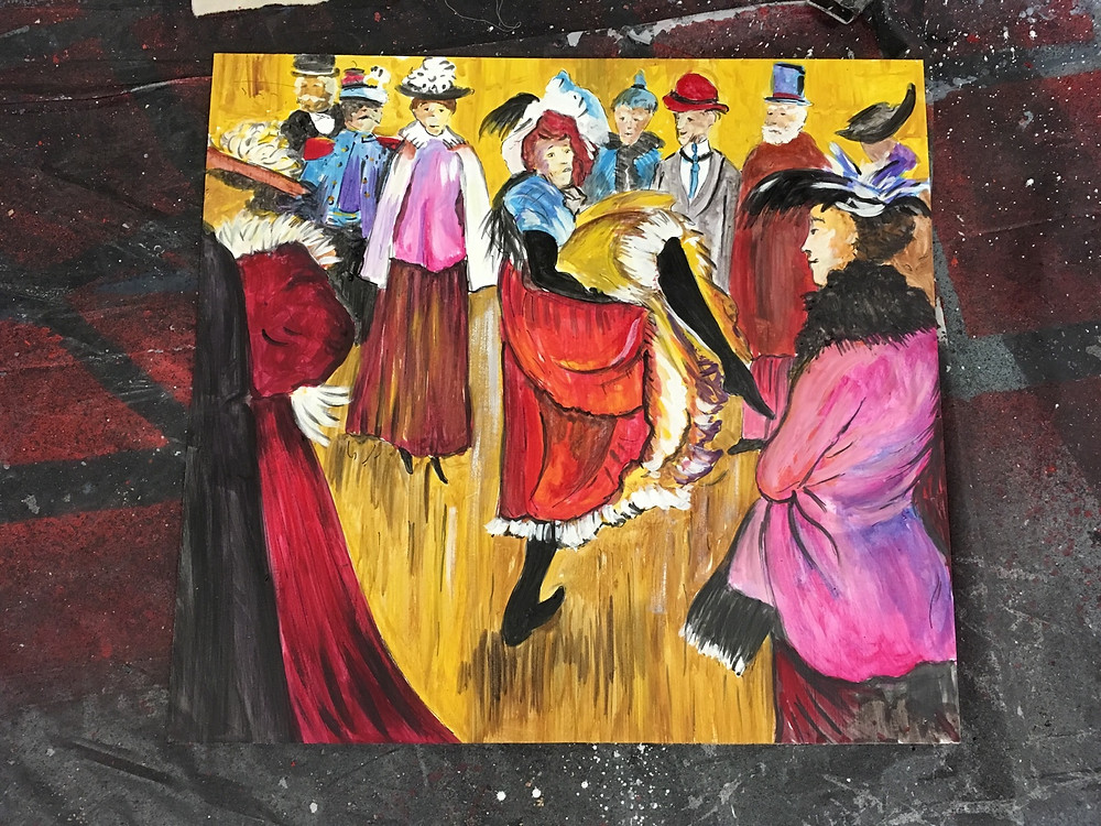 Our set designer, Jimmy Ray Ward's Toulouse-Lautrec painting for the Act I wall of the Bohemian's apt.