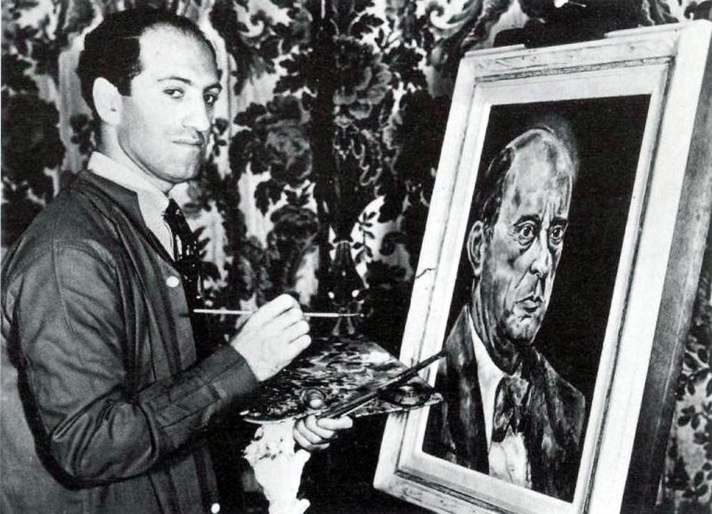 Gershwin with his portrait of Schoenberg