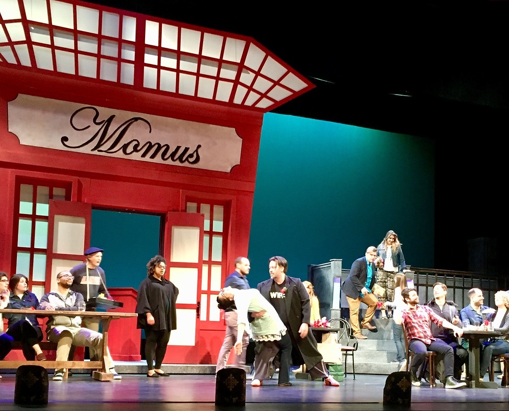 OR Tech rehearsal, Act II; Jules Olsen as Musetta and Corey Crider as Marcello