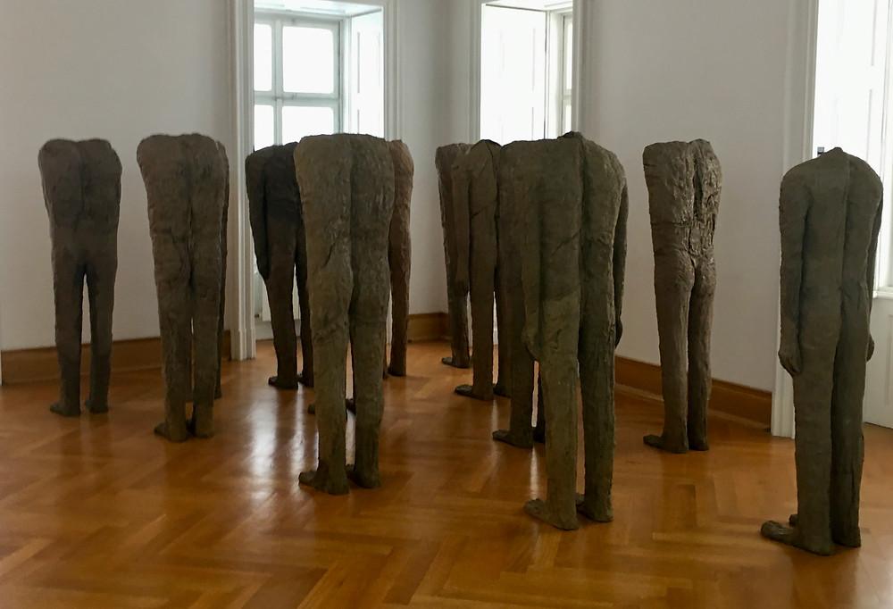 """""""Backwards Facing"""" sculpture group"""