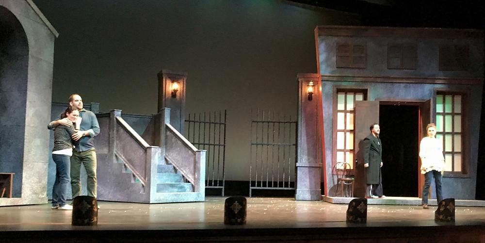 OR Boheme Act III Tech, Chelsea Bonagura and Matthew Vickers as Mimi and Rodolfo; Crider and Olsen