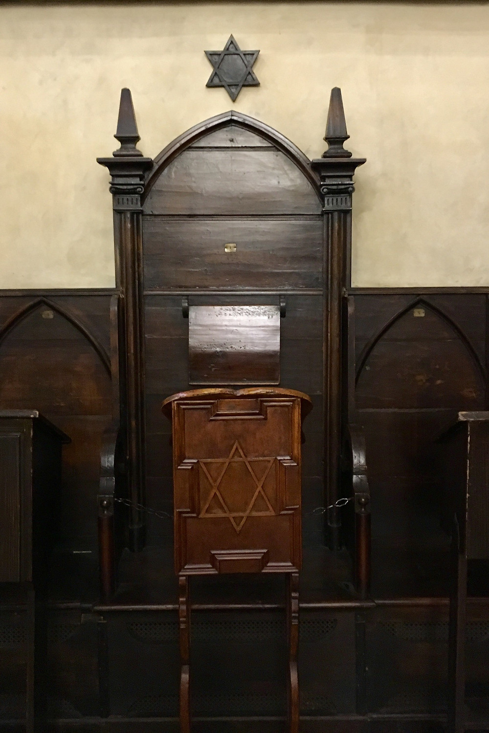 "Rabbi Löw's hallowed seat ""#1"" at the ""Alt-Neu"" (Old-New) Synagogue, home of the Golem legend"
