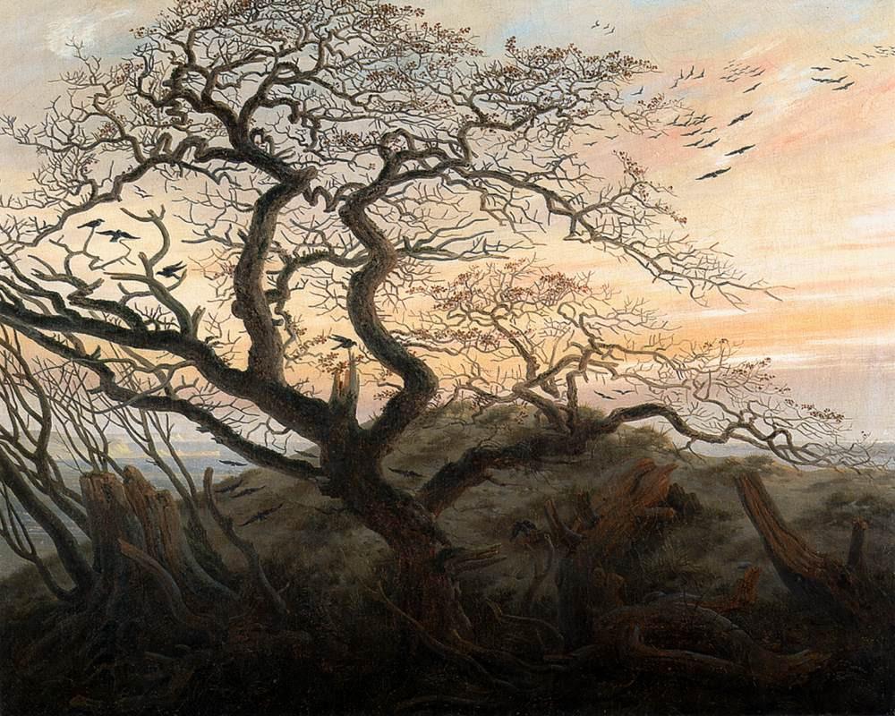 Friedrich's crows in trees