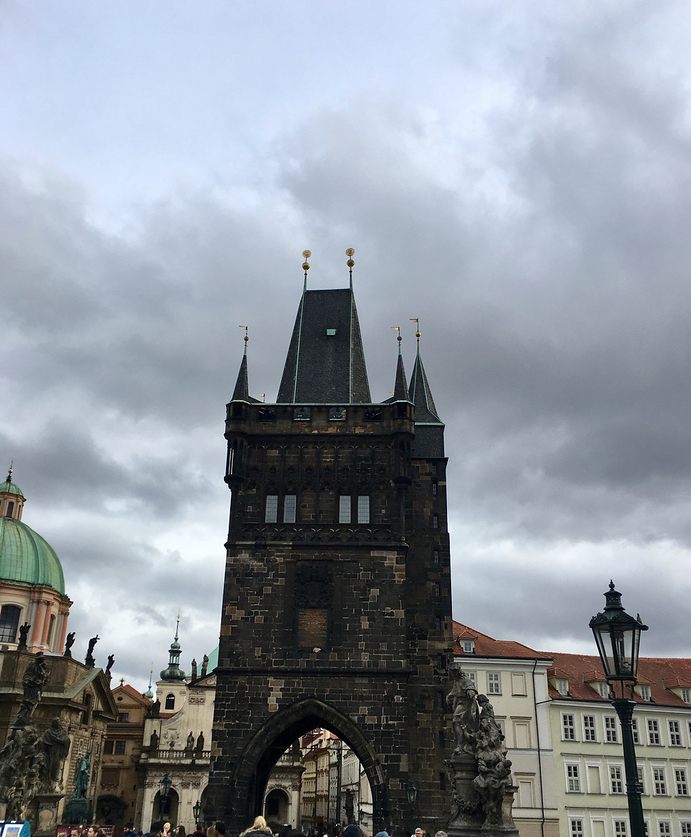 """One of two imposing medieval """"Royal Path"""" gates in Prague"""