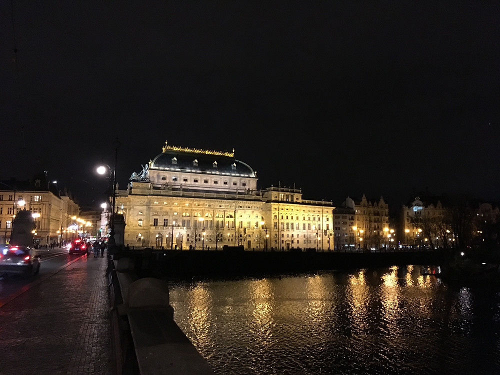 The National Theatre, seen from the Moldau at night, XI.17