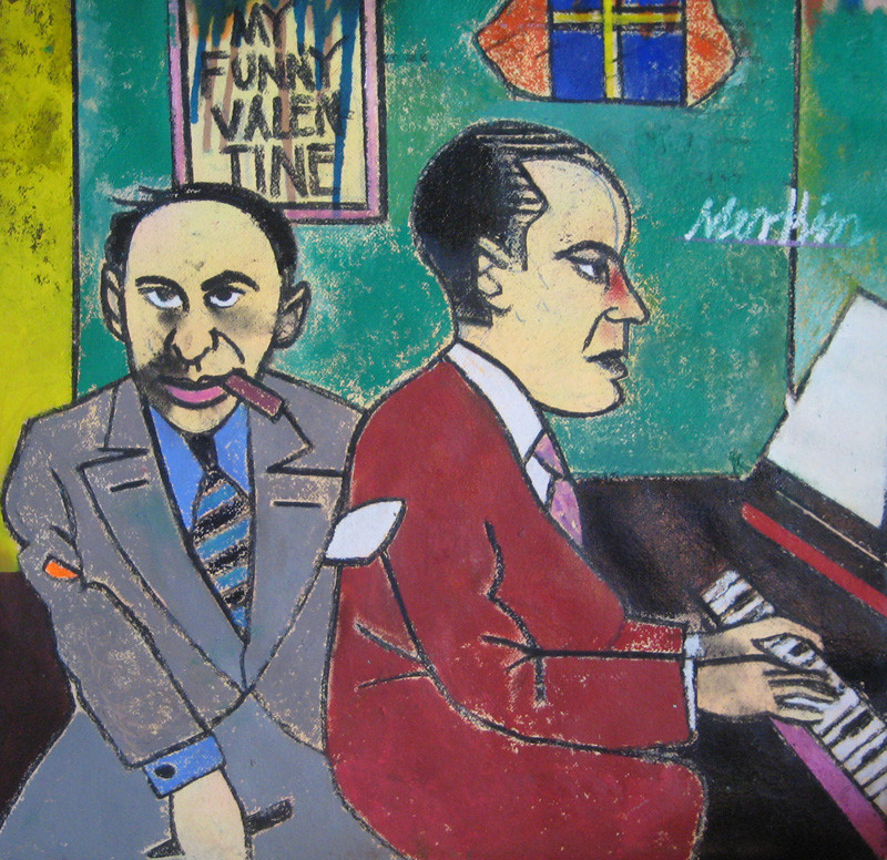 Merkin's portrait of Rodgers (at piano) and Hart