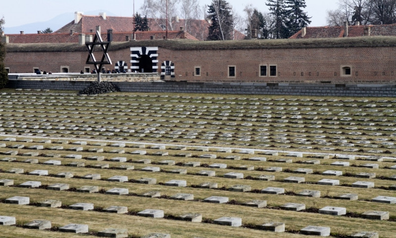 Unmarked Jewish graves outside the Nazi camp of Terezin